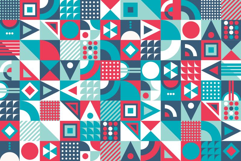 TenVinilo. Alfombra de vinilo geométrica moderna. Moderna alfombra vinílica geométrica para decorar tu casa a tu propia manera con este increíble diseño. Producto de primera calidad
