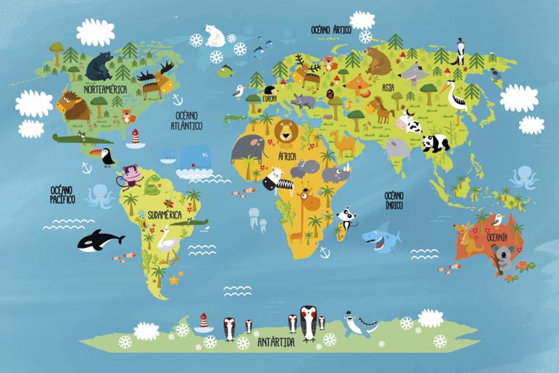 TenVinilo. Alfombra de viinilo Infantil Mapamundi Animal. Increíble alfombra vinílica infantil mapamundi con diferentes animales de cada continente para decorar habitación de niño. Antialérgica y lavable