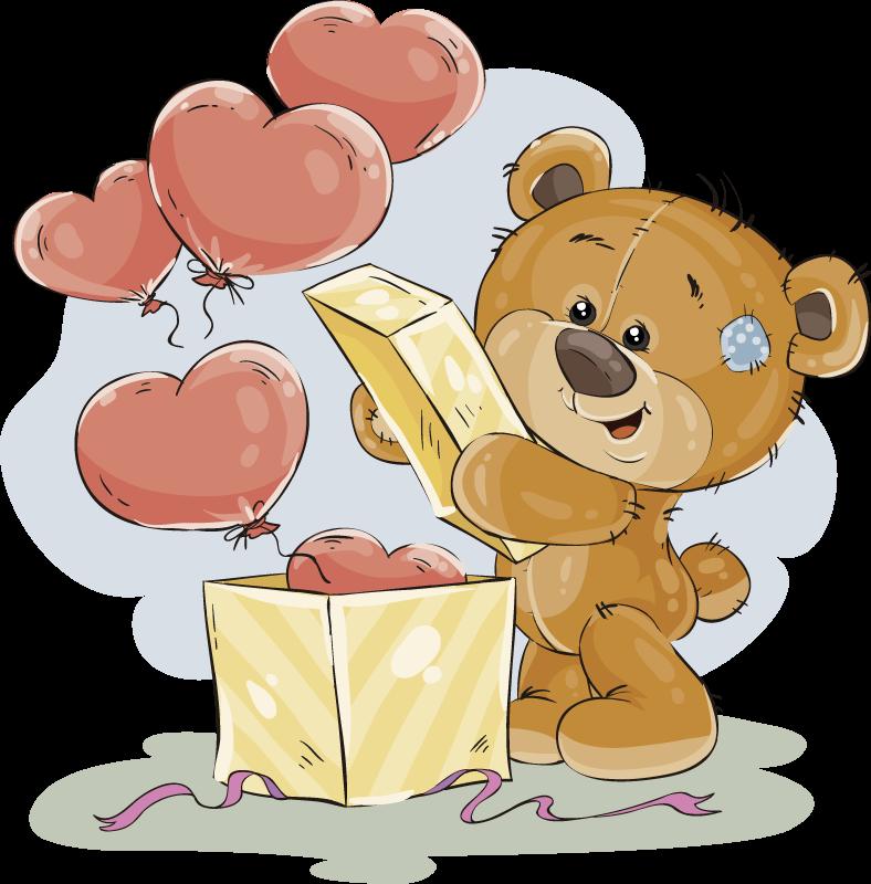 Tenstickers. Vinyl teppebjørn forelsket. Dette vinylteppet til barnerom vil være perfekt som gave til barna. Den har utformingen av en søt bjørn som åpner en boks full av hjerter.