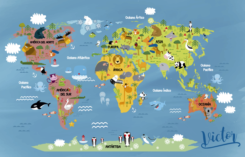 TenStickers. Personnalised world map animal vinyl carpet. Customizable vinyl carpet for children world map to decorate your child's room! A design they are certain to adore! +10,000 satisfied customers.