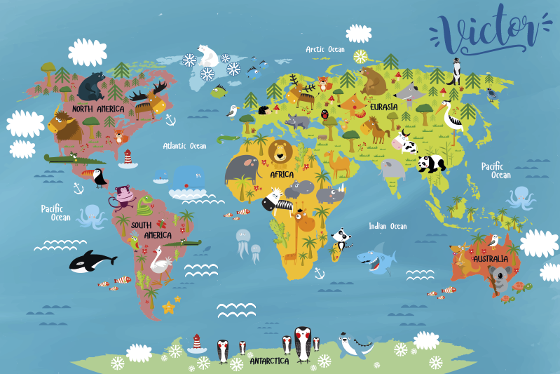 TenStickers. Vinyl rug for kids World Map with animals. This rectangle vinyl rug is a perfect decoration for your childrens room. There are continents and typical animals you can find there around.