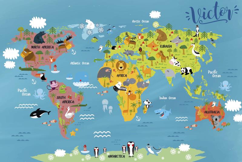 TenStickers. Vinyl vloerkleed voor kinderen wereldkaart met dieren. Dit rechthoekige vinyl vloerkleed is een perfecte decoratie voor uw kinderkamer. Er zijn continenten en typische dieren die je daar kunt vinden.
