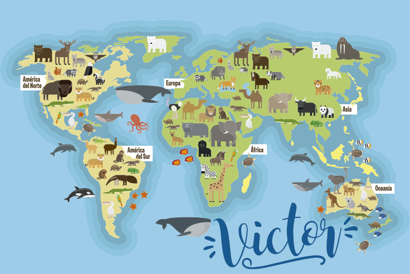 TenVinilo. Alfombra vinílica para niños mapamundi fauna. Esta alfombra vinílica del mapa mundial hará que sus hijos aprendan sobre nuestro maravilloso planeta de una manera muy innovadora. Material de alta calidad!