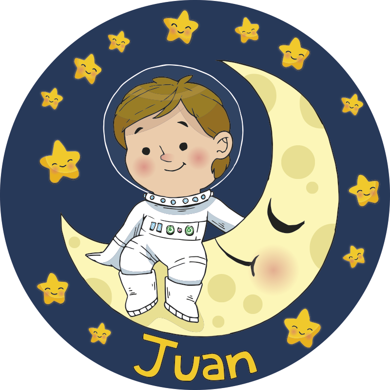 TenStickers. Boy Astronaut with name kids vinyl rug. Vinyl children's carpet with a name so you can decorate your child's room with a design that will bear their name! Extremely long-lasting material.