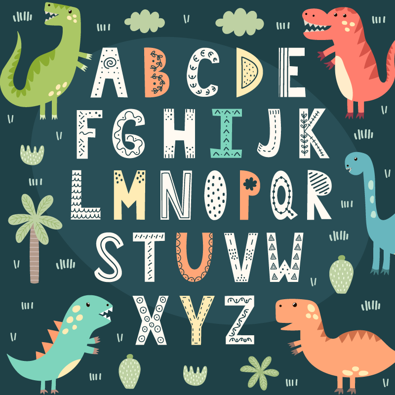 TenStickers. Dinosaur alphabet vinyl rug. Vinyl carpet with children's alphabet that you can use to decorate your children's room in a totally exclusive way! Buy now!