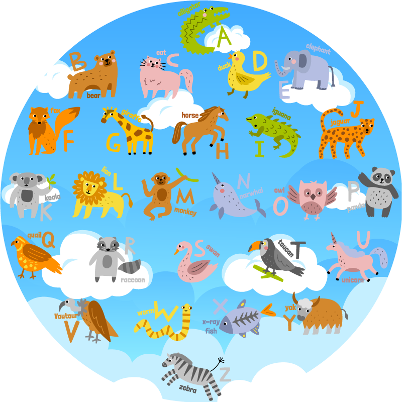 TenStickers. Round english  alphabet vinyl rug. This stunning round english vinyl alphabet rug is the perfect choice if you want to help your kid in learning the basics of language without problems!