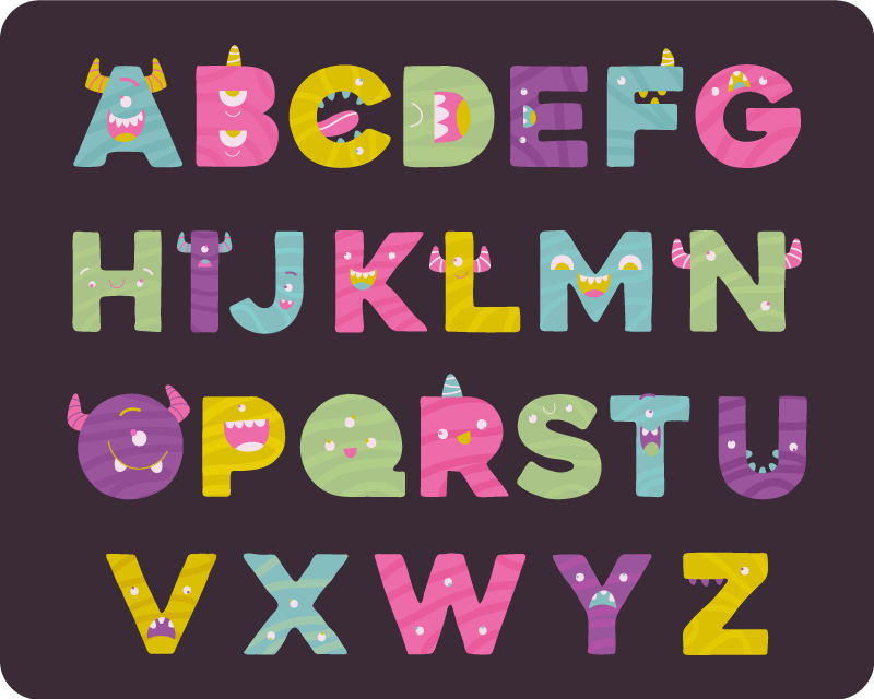 TenStickers. monstrous alphabet vinyl rug. Take a look at this original monstrous vinyl alphabet rug and find a great way for helping your kid in the learning of the alphabet!