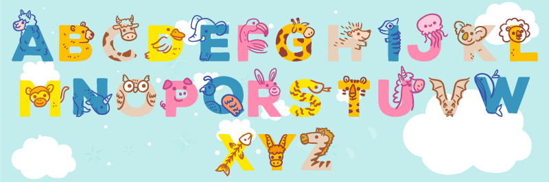 TenStickers. Kid alphabet vinyl rug. Try this wonderful kids vinyl alphabet rug with animals and make a a fantastic gift that will be surely appreciated by your kid!