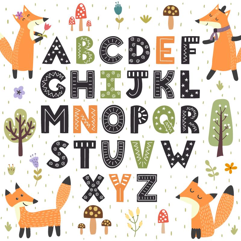 TenVinilo. Alfombra de vinilo infantil abecedario del bosque. Magnífica alfombra de vinilo abecedario infantil en la cual las letras están rodeadas por elementos y animales dle bosque. Antialérgica y lavable