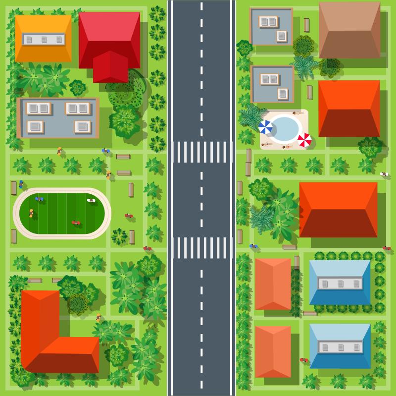 TenStickers. Tapis de tapis de route de ville. Ce magnifique tapis en sticker pour route de ville pour enfants est parfait pour rendre les chambres de vos enfants vraiment incroyables! Choisissez la bonne taille pour vous!
