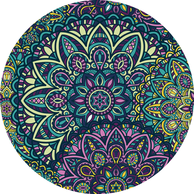TenStickers. Round composition  mandala vinyl carpet. With this marvellous round composition mandala vinyl rug you can bring in your home a really beatiful and useful object!
