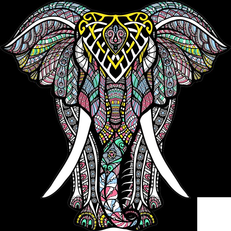 TenStickers. Dywan winylowy słoń mandala. Ten wspaniały dywan winylowy mandala ze słoniem to rozwiązanie, którego potrzebujesz, aby łatwo i znacząco poprawić wygląd domu!