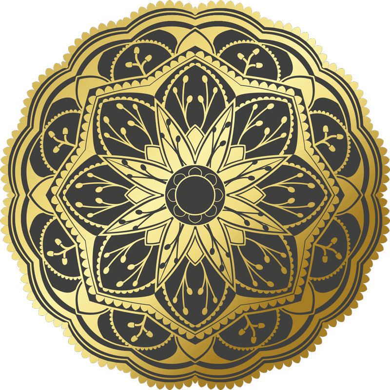 TenStickers. Golden effect flower mandala vinyl carpet. Use this fantastic golden effect flower mandala vinyl rug for decorating the rooms of your home in a really beautiful way!