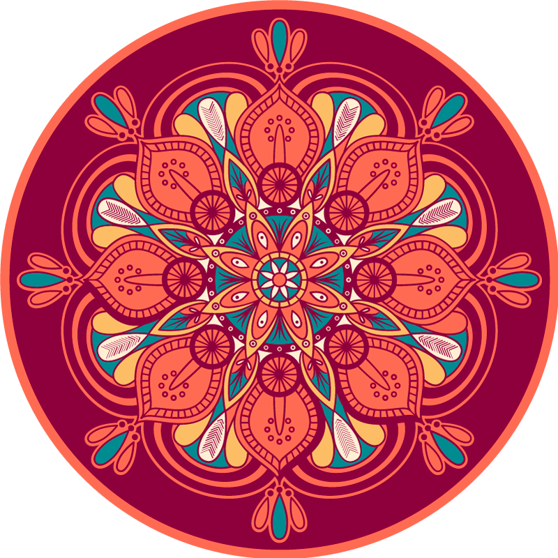 TenStickers. indian style mandala flower vinyl rug. Decorative Indian mandala vinyl carpet to put in the place of your house that you want! Washable and very resistant product!