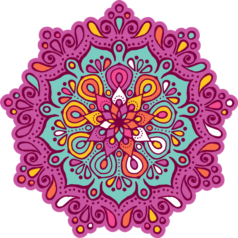 TenStickers. Floral Mandala Vinyl Rug. Colourful mandala vinyl rug to decorate your house with exclusivity and a design that everyone will envy! +10,000 satisfied customers.