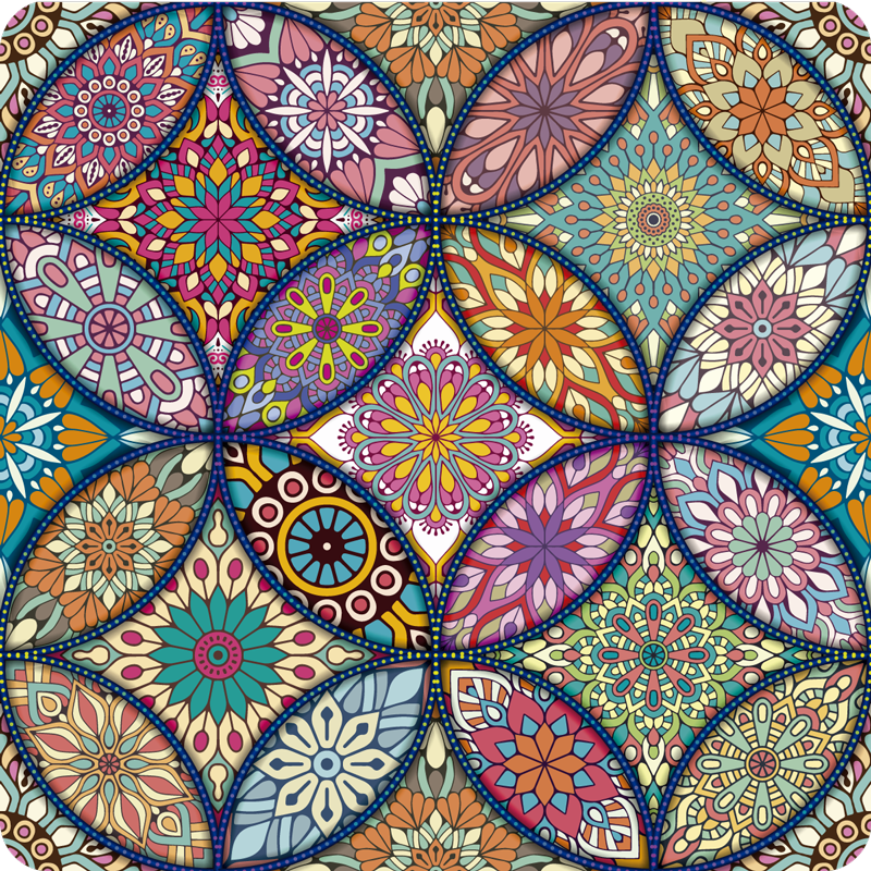 TenStickers. Mandalas full color vinyl rug. Would you like to have a more cheerful decoration? Here you have the solution, this floral mandala carpet in different colors is perfect for you!
