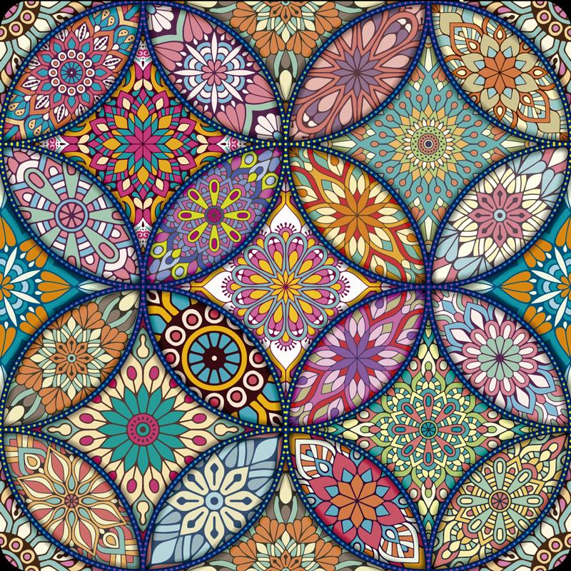 TenStickers. Mandala's full colour vinyl vloerkleed. Wilt u een meer vrolijke decoratie hebben? Hier heb je de oplossing, dit bloemenmandala-tapijt in verschillende kleuren is perfect voor jou!