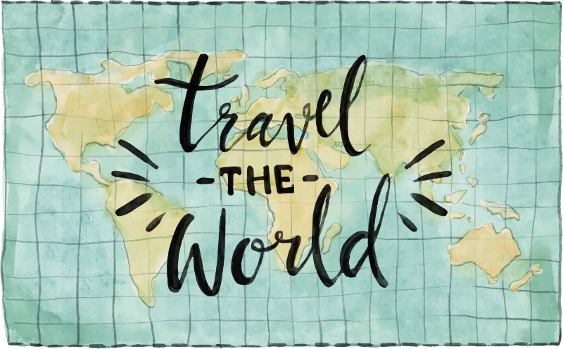 TenStickers. Travelling world map vinyl carpet. Take a look at this fantastic world map vinyl rug about travel and start imagining how many uses it can have in your house!