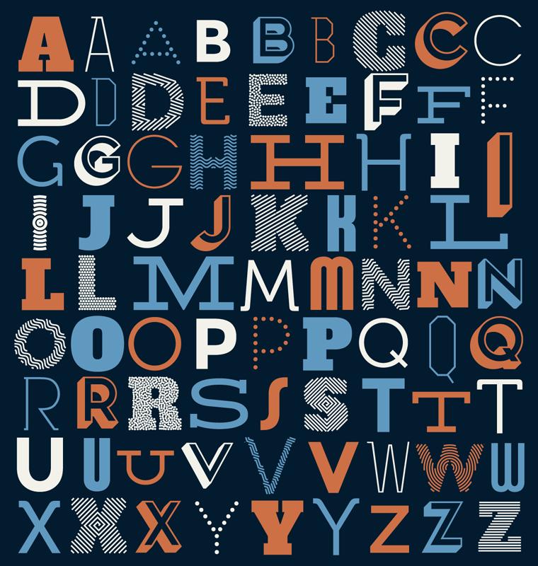 TenStickers. Tapete de vinil Alfabeto tipográfico. Tapete de vinil com o qual pode decorar sua casa com um estilo único que irá surpreendê-lo e deixar todos os seus visitantes maravilhados!