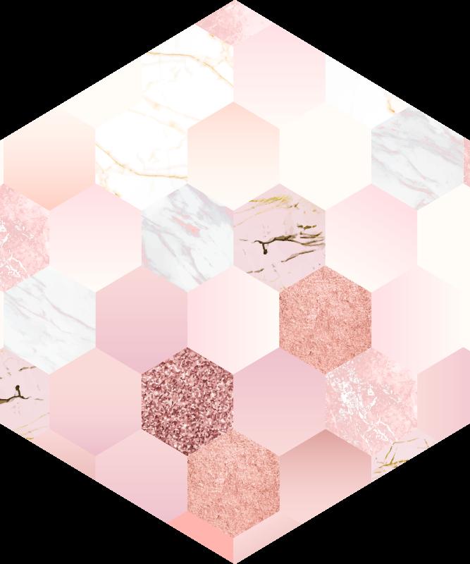 TenStickers. 현대 6 각형 카펫 핑크 텍스처. 이 현대 육각형 기하학적 비닐 깔개는 모든 사람이 부러워하고 당신이 과시 할 수있는 장식을 만들 것입니다!