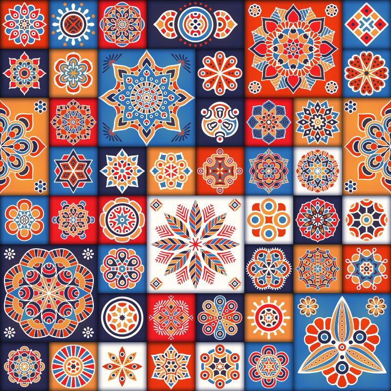 Tenstickers. Fliser mosaikk vinyl teppe. Dette fantastiske mosaikkvinylteppet med forskjellige fliser er det beste valget for hvem som ønsker å endre radikalt aspektet av et hvilket som helst rom i huset!