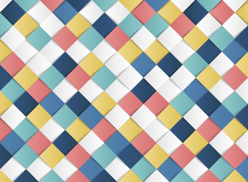 TenStickers. Tappeto in vinile mosaico di quadrati 3d. Questo meraviglioso tappeto in vinile a quadrati 3d è la soluzione migliore per chi vuole trovare un nuovo fantastico modo di decorare la casa!