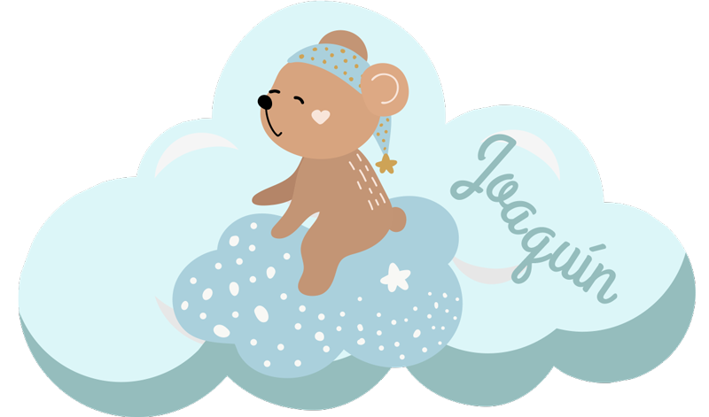 TenStickers. Personalized blue scandinavian vinyl rug. This personalized blue children vinyl rug with bear is the perfect solution for the decoration of your son's bedroom! Zero residue upon removal.