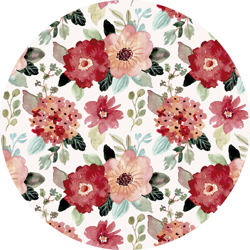 TenStickers. Vintage style vinyl rug with flowers vintage. Wonderful round vintage vinyl carpet with which you will have a home decoration that everyone will envy! Easy to apply. Buy now!