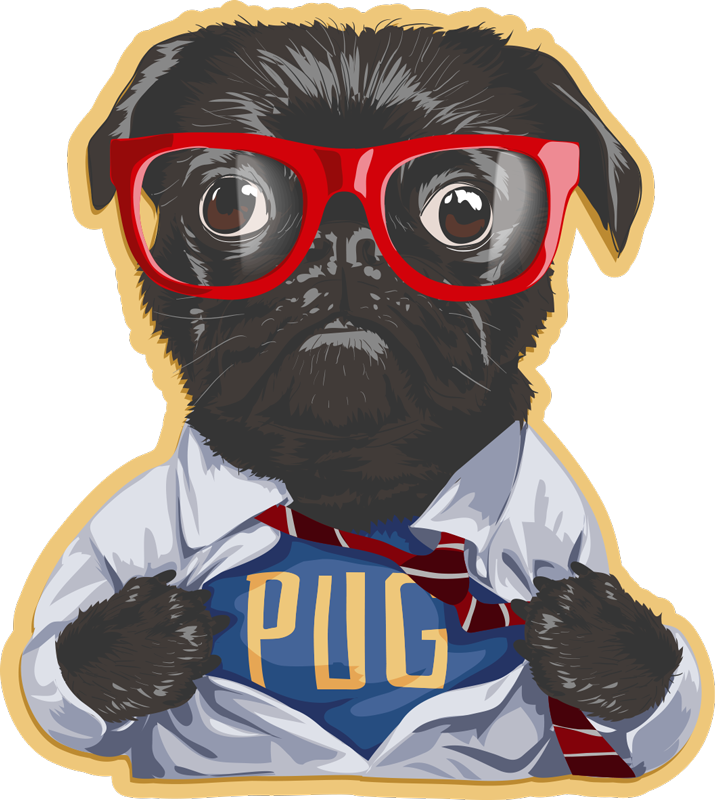 TenStickers. Tapis vinyle rétro - chien avec des lunettes. Incroyable tapis vintage en vinyle avec l'image d'un chien noir avec des lunettes et avec une robe du 20ème siècle! Matériau extrêmement durable.