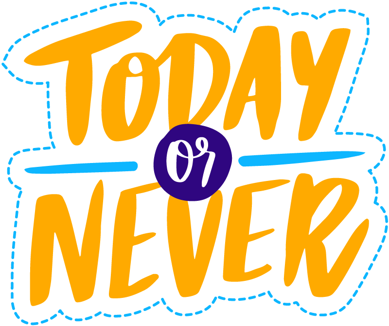 "TenStickers. Vinyl Carpet Phrase Today or Never. Motivating vinyl carpet with text in English with the phrase ""NOW or NEVER"" in English that will serve to motivate and inspire you!"