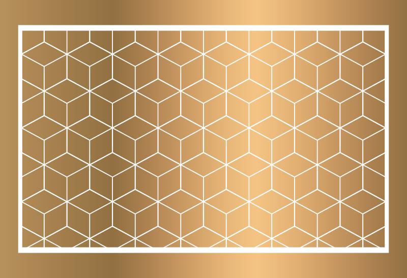 TenStickers. Dywan winylowy sześcienna geometria. Dzięki temu wspaniałemu geometrycznemu dywanikowi z bryłami będziesz w stanie całkowicie odmienić wygląd swojego domu! Wysoka jakość!