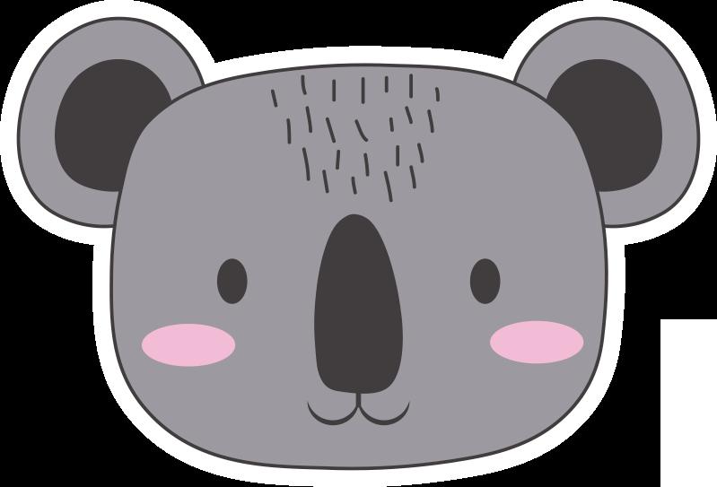 TenStickers. Коала лицо животных виниловый ковер. виниловый ковер для детей из любящего медведя, которым вы можете украсить свою детскую комнату с этим эксклюзивным и оригинальным дизайном!