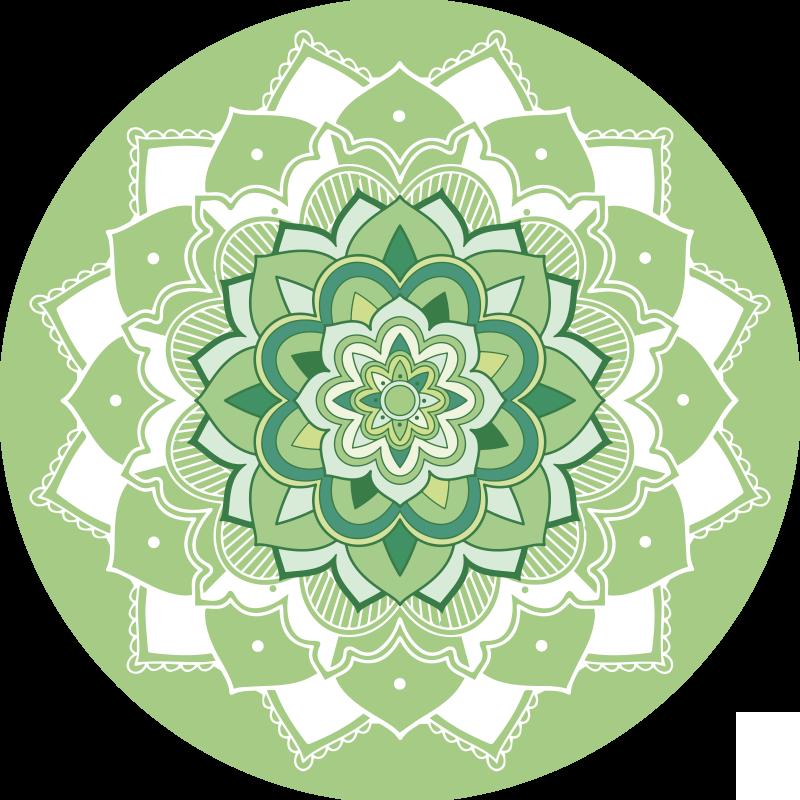 TenStickers. Groen bloemen mandala vinyl tapijt. Ongelooflijk groen mandala vinyl vloerkleed om je huis te versieren met exclusiviteit en originaliteit! Kies je maat voor de perfecte pasvorm!