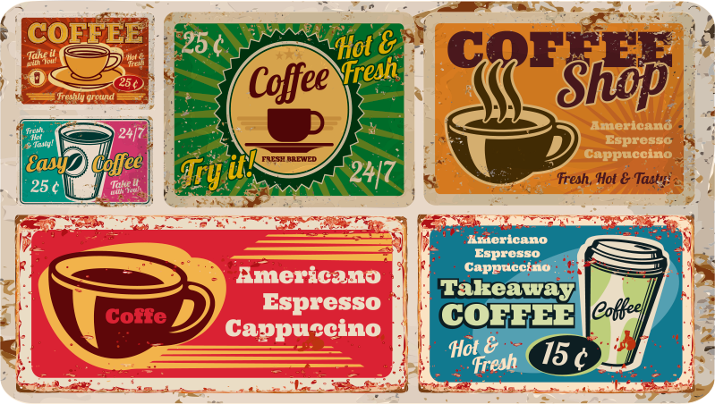 TenStickers. Amercian coffee vintage vinyl carpet. Look at those colorful designs, how amazing it would be to have them in your room It couldn't be easier! Zero residue upon removal.