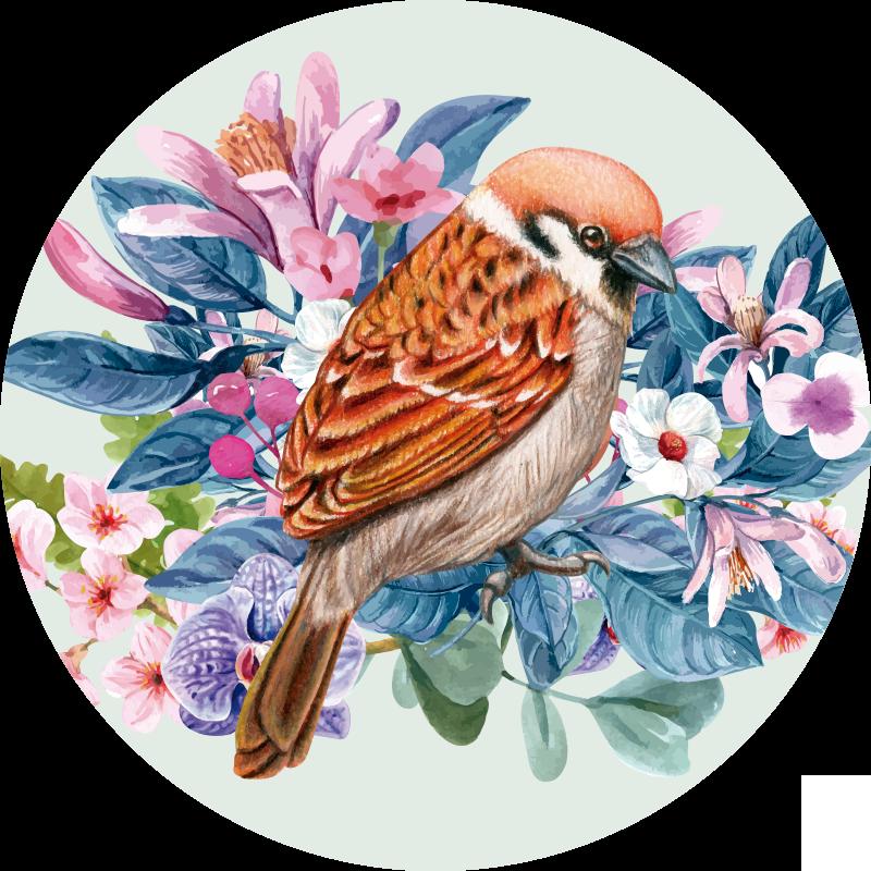 TenStickers. Vinyl tapijt met ronde vogels. Met dit prachtige ronde vogel vinyl vloerkleed kun je op een fantastische manier elke kamer van je huis versieren!