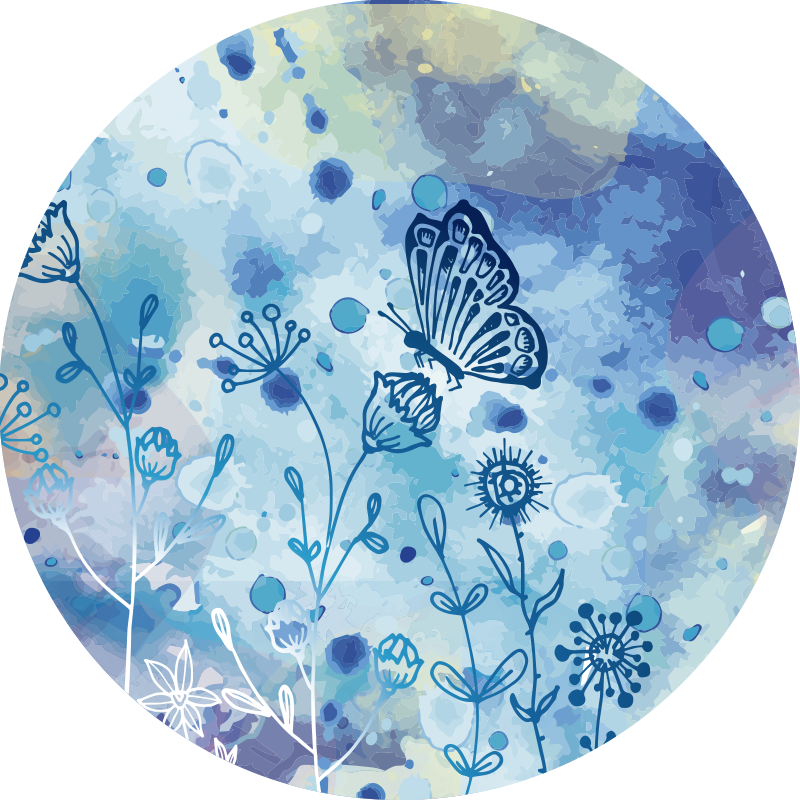 TenStickers. Runder blauer Schmetterling Vinylteppich. Dieser atemberaubende runde blaue schmetterling vinyl schlafzimmer teppich ist das, was sie brauchen, um in ihrem haus ein fantastisches visuelles element zu bringen!