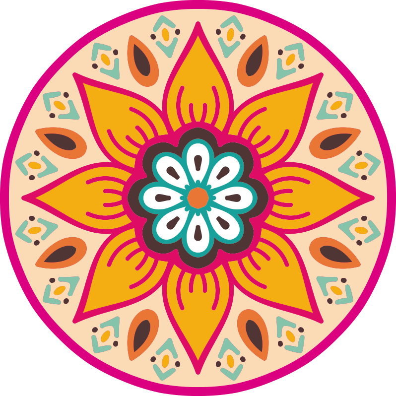 TenStickers. round flower mandala vinyl carpet. Why don't you consider to use this gorgeous round flower mandala vinyl rug for getting in your house a very incredible visual element