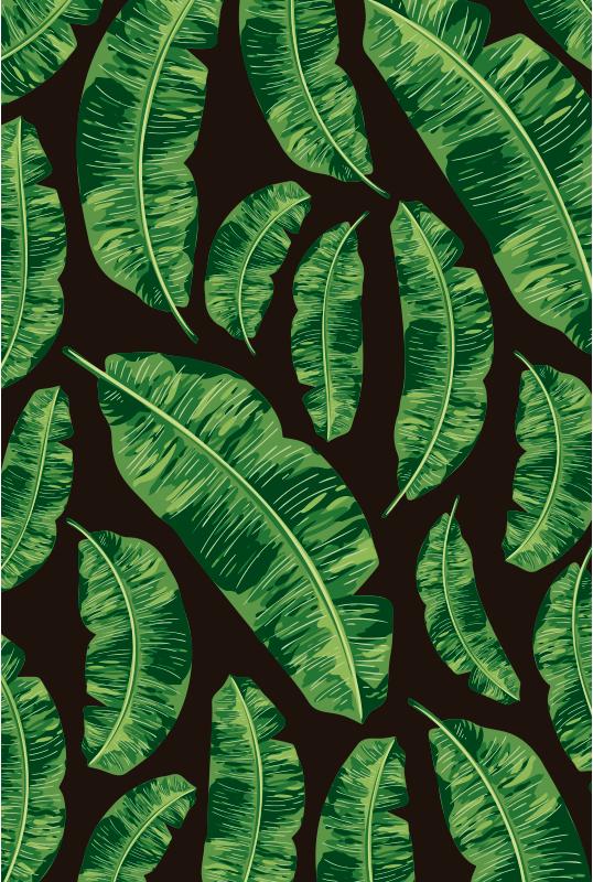 TenStickers. Dywan winylowy tropikalne liście. Ten elegancki dywan winylowy o tropikalnych liściach jest najlepszym rozwiązaniem, jeśli chcesz poprawić wystrój dowolnego pomieszczenia w domu!