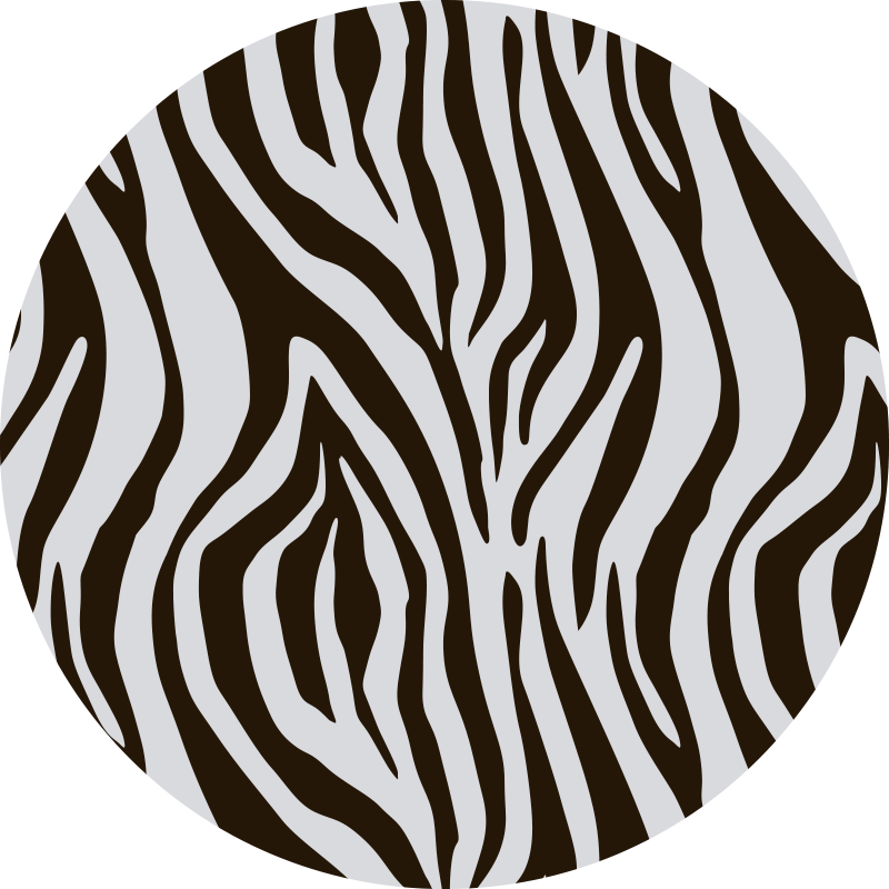 TenStickers. Round zebra style animal print vinyl carpet. This spectacular round zebra animal print vinyl rug is what you need for bringing in your house something really beautiful and original!