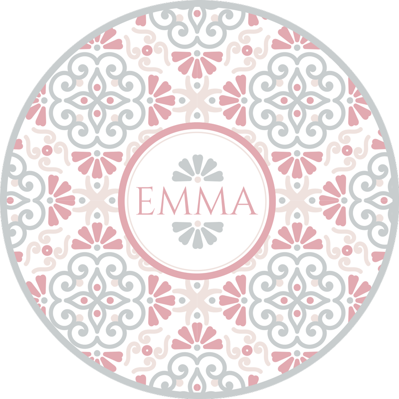 TenStickers. Circular flower pattern personalised vinyl rug. Wonderful round vintage vinyl carpet with which you will have a home decoration that everyone will envy! Choose your size.