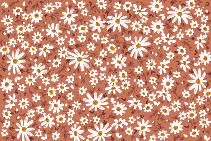 TenStickers. 70's Daisy flower orange background vinyl living room rug. Let this amazing 70's Daisy flower orange background vinyl rug help you in making great changes in your house! Choose your size.
