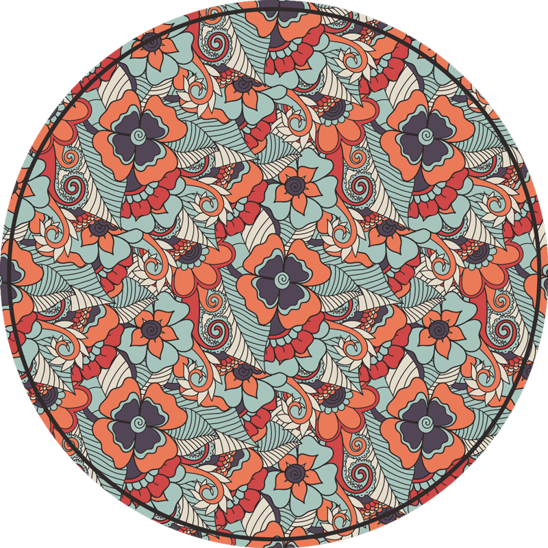 TenStickers. round floral paisley vinyl dining room rug. This round floral paisley vinyl rug for dining room can be a great solution for a great improvement of all your house decor!
