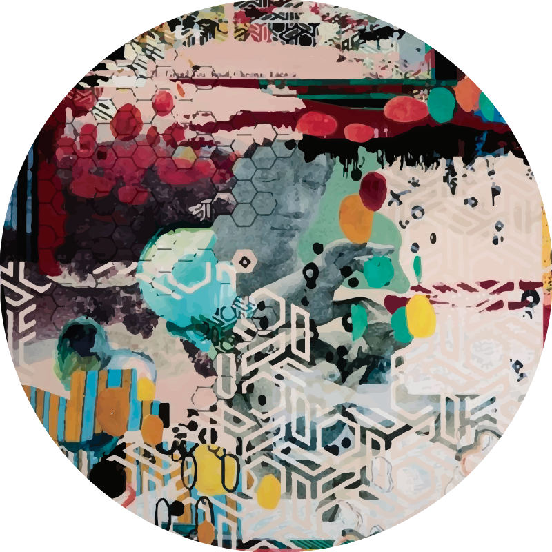 TenStickers. Mix of urban art modern vinyl carpet. This wonderful round vinyl rug of urban art will look spectacular in your double bedroom and still bring color and life to your decor.