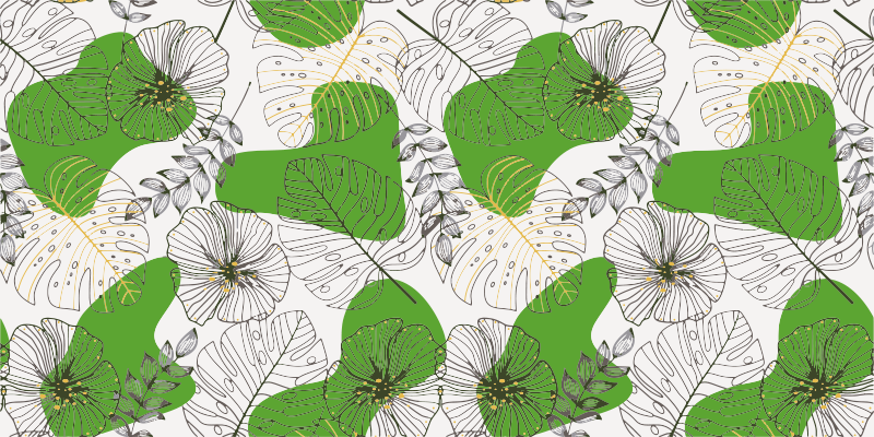 TenStickers. Monstera leaves living room vinyl rug. Bring a little bit of nature to your home decor and create a comfortable atmosphere with this nature vinyl rug with a pattern of monstera leaves.