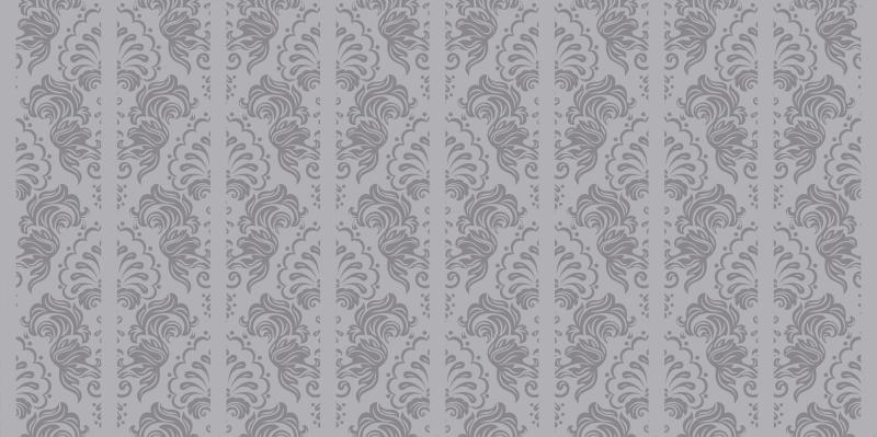 TenStickers. Subtilna okrasna siva preproga. Okrasite svoj dom z eleganco in glamurjem s to veličastno vintage vinilno preprogo z vzorcem klasičnih temno sivih okrasnih.