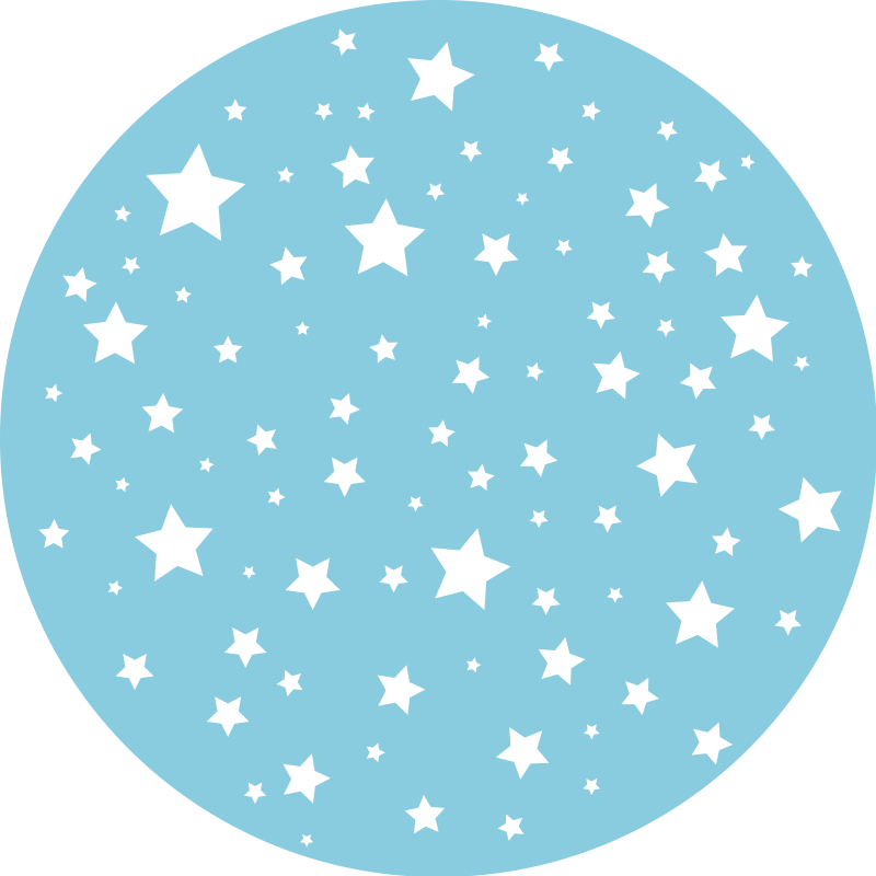 TenStickers. Blue Stars Round vinyl carpet. Vinyl rug blue stars you can use it for your children's bedroom or for all spaces in the house. Choose the size and create a perfect home.