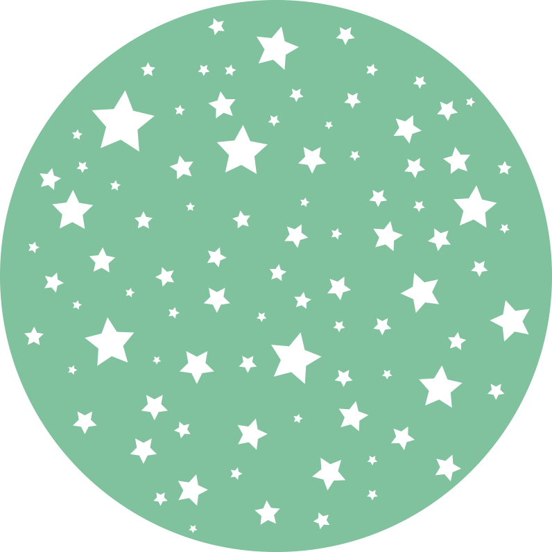 TenStickers. Green Stars kids vinyl carpet. Your child deserves to be able to play on his bedroom floor without risks, so we made him this round vinyl rug of white stars on a green background.