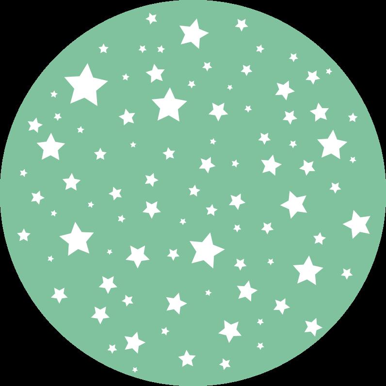 TenStickers. Dywan winylowy dziecięcy w gwiazdki zielony. Twoje dziecko zasługuje na możliwość zabawy na podłodze w sypialni bez ryzyka, dlatego ten okrągły winylowy dywan z gwiazdkami będzie idealny!