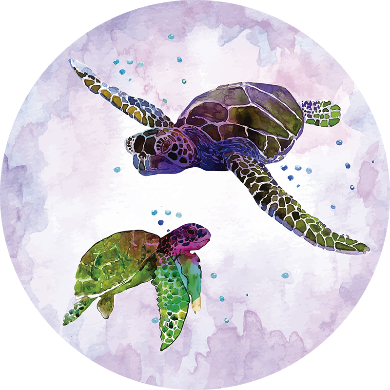 TenStickers. Pain Art Turtles animal vinyl carpet. Animal vinyl rug with turtles is a must-have to decorate your room and give it an artistic vibe. The perfect decoration item for animal and art lovers
