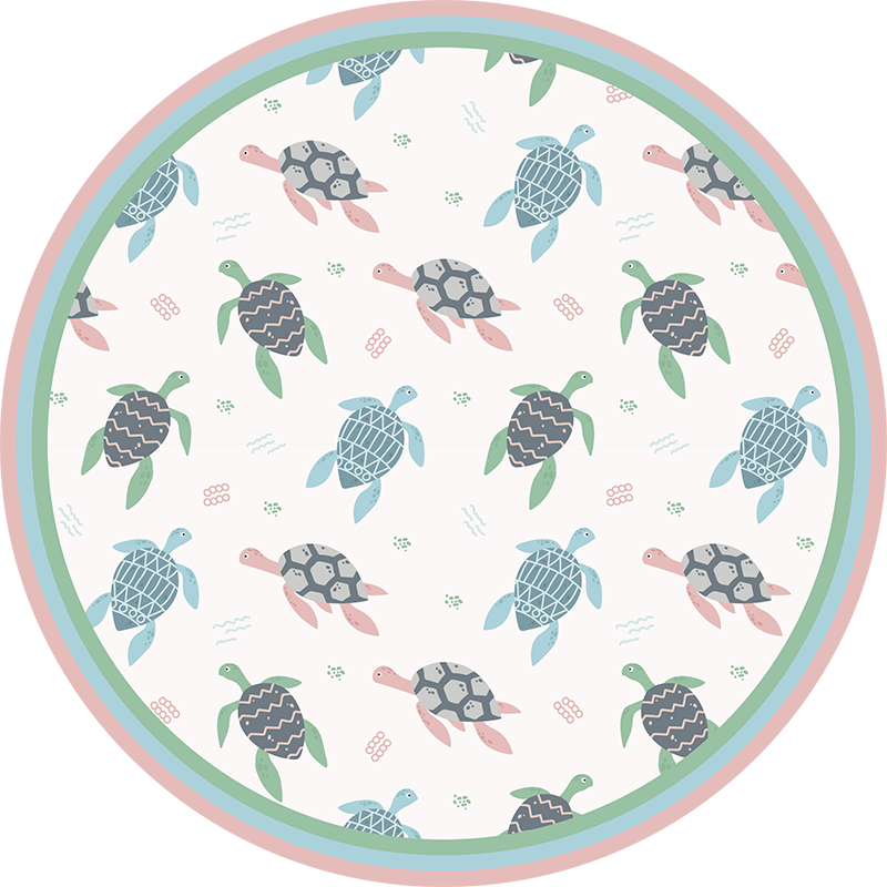 TenStickers. soft color turtles animal vinyl carpet. Our beautiful round vinyl rug with turtles will make your kid's room a better place for him thanks to its cute, colorful design and amazing atmosphere